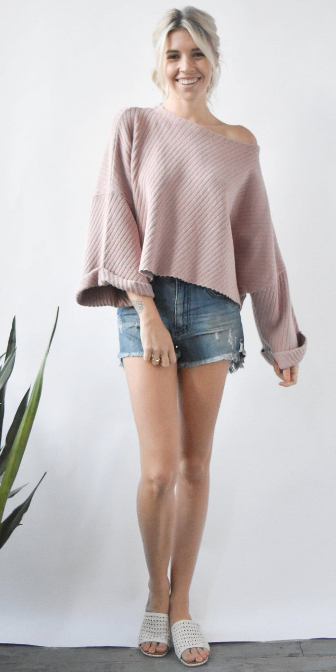 Free People I Can't Wait Cropped Sweater in Rose