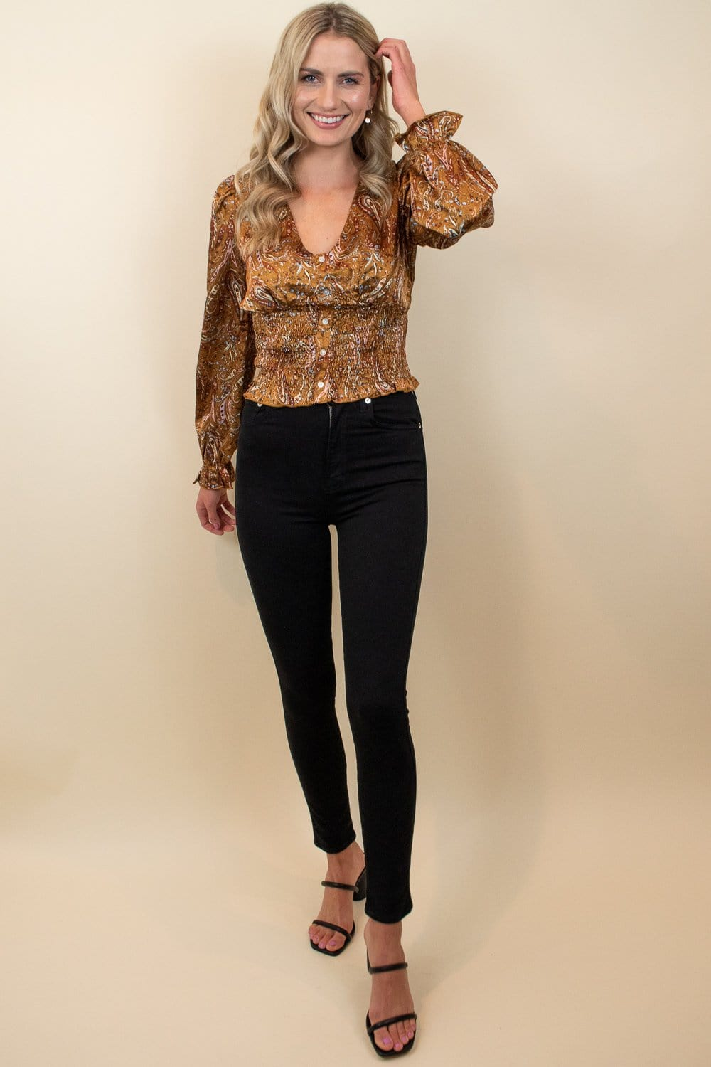 Lucy Paris Kenna Paisley Top Camel Paisley