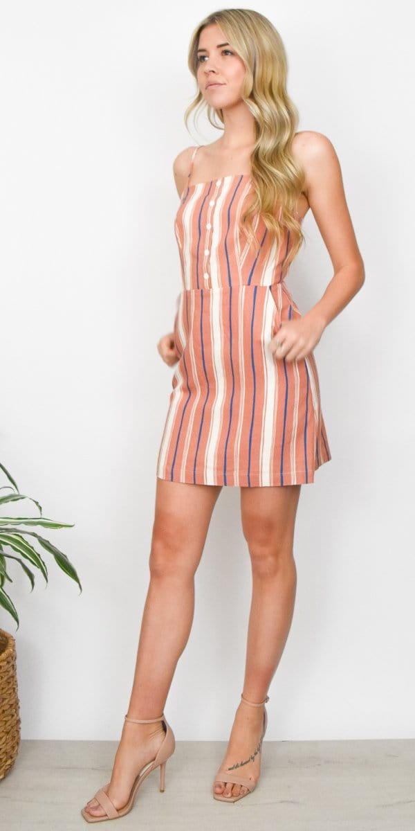 Lost + Wander Pleasure Harbor Mini Dress in Mauve/ White Stripe