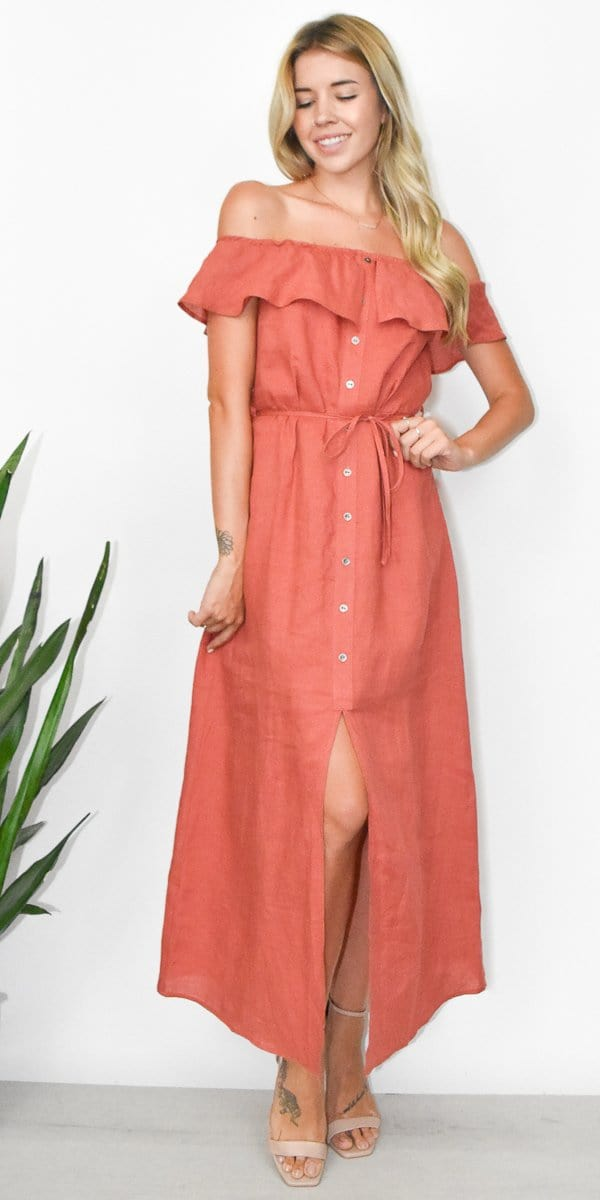 Lucca Rose Button Front Midi Dress in Burnt Sienna