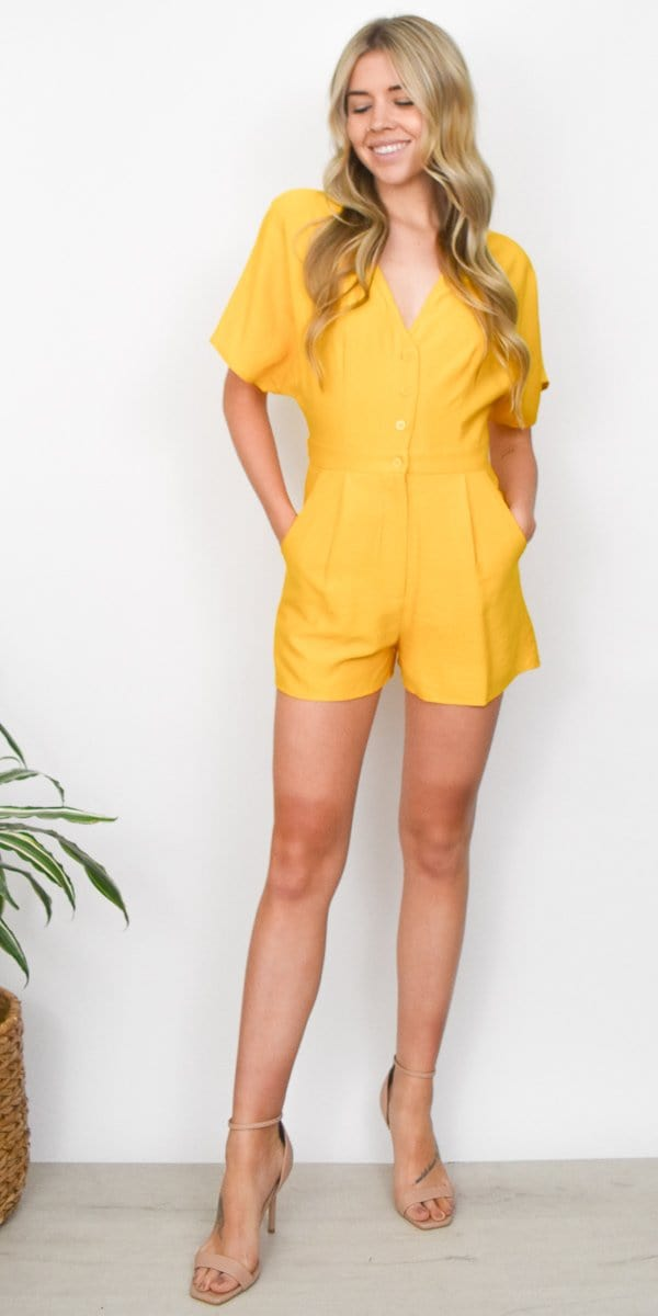 Lost + Wander Yellow Submarine Romper in Mustard Yellow