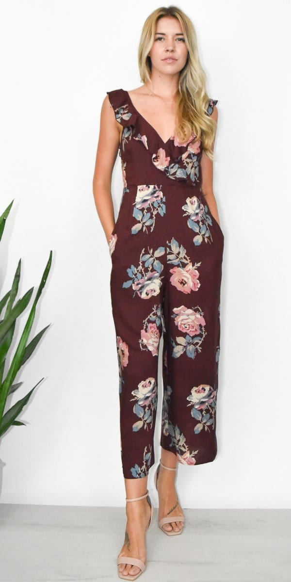 Show Me Your Mumu Bianca Jumpsuit in Chocolate and Roses Drape