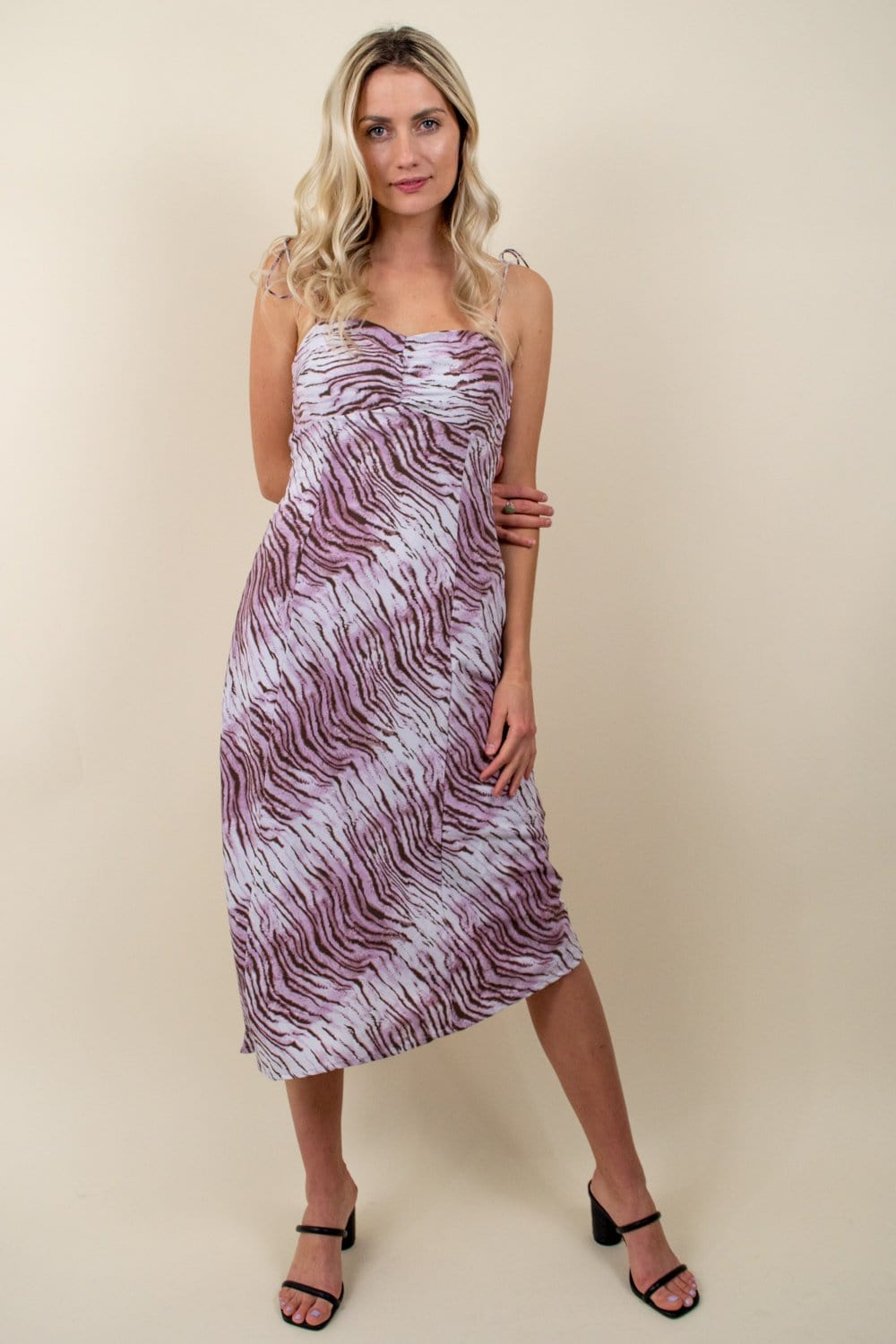 En Saison Tiger Print Slip Dress Lilac