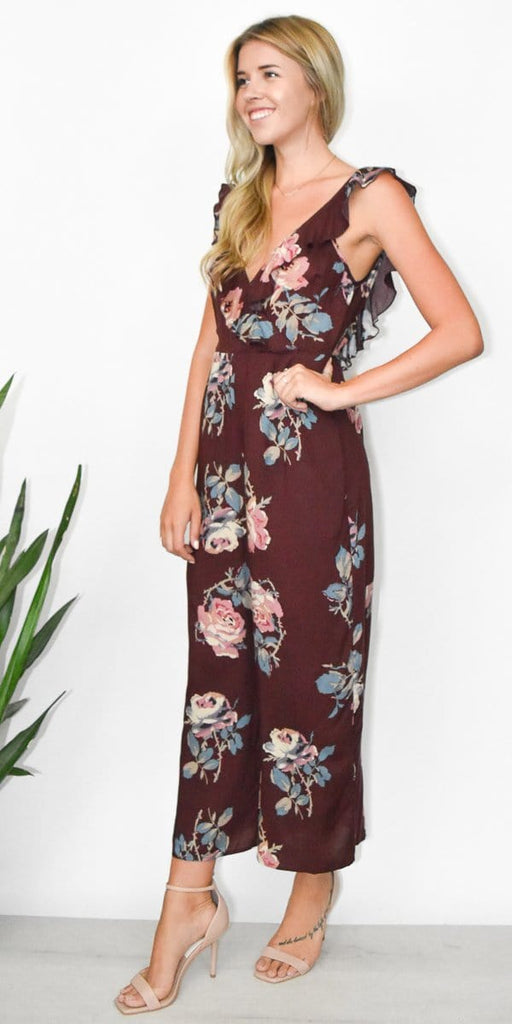 df2f86e4139 Show Me Your Mumu Bianca Jumpsuit in Chocolate and Roses Drape. Images   1    2   3
