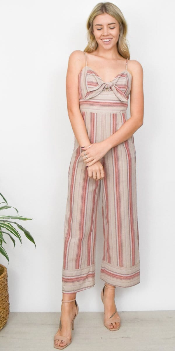 J.O.A. Striped Linen Tie Front Jumpsuit in Pink Stripe