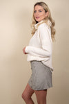 Bobi Funnel Neck Top Ivory