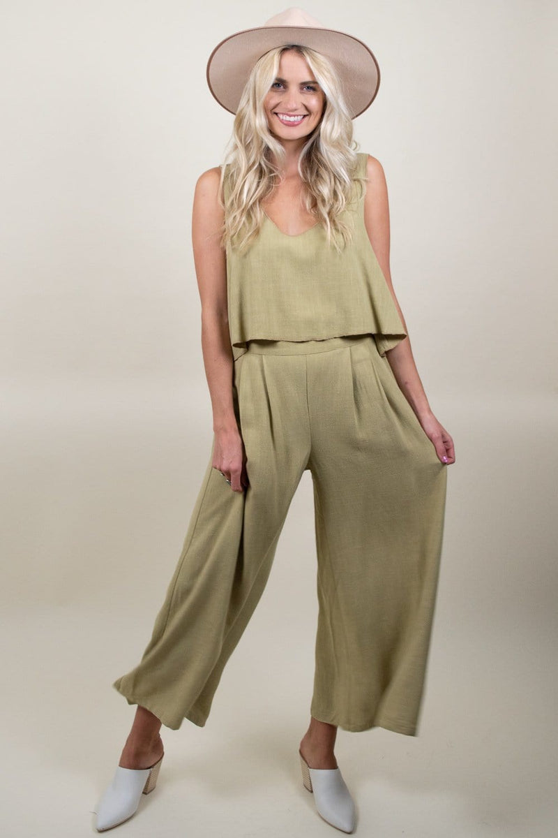 Goldyn Perfect Palazzo Pant Green Linen