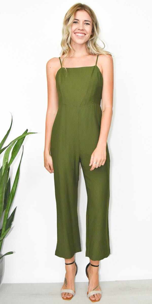 Line + Dot Francine Jumpsuit in Moss