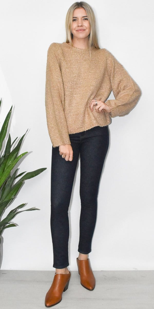 Knitted Wide Sleeve Sweater Top in Coffee Tan
