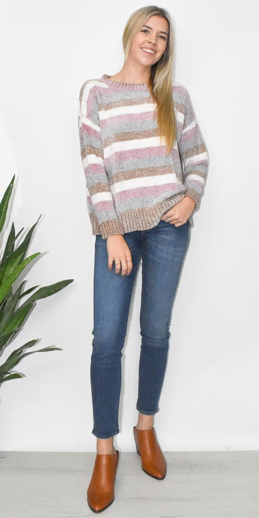 Wild Dove Boutique Striped Chenille Sweater Pastel