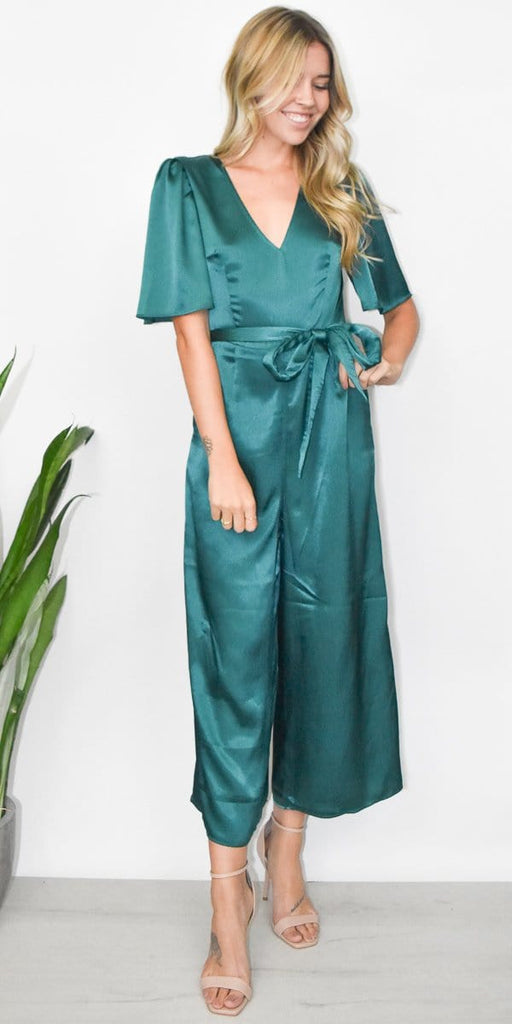 The Fifth Label Estella Jumpsuit in Emerald Green Sheen