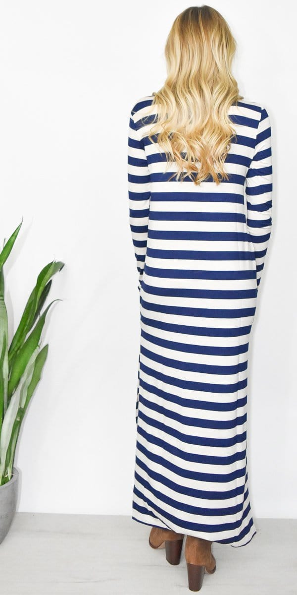 GOLDYN Isla Stripe Maxi Dress in Navy & Oatmeal
