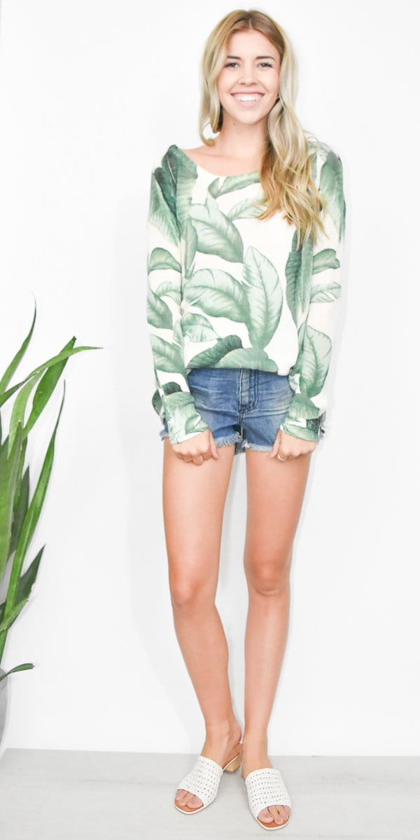 Show Me Your Mumu Ryan Rene Reversible Sweater in Palmtini Knit