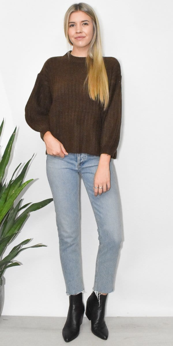 Grade & Gather Dolman Sweater in Chocolate Brown
