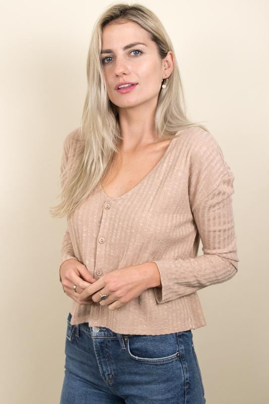 Amuse Society Mira Cardi Knit Top Amaretto