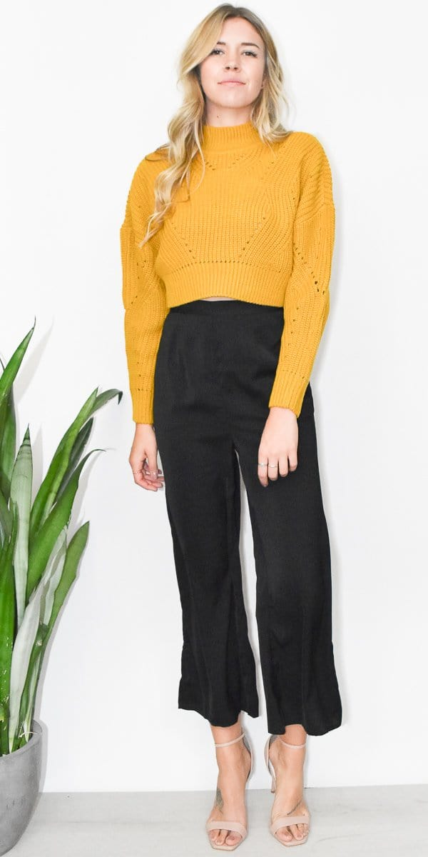 RD Style Golden Cropped Sweater in Golden Yellow