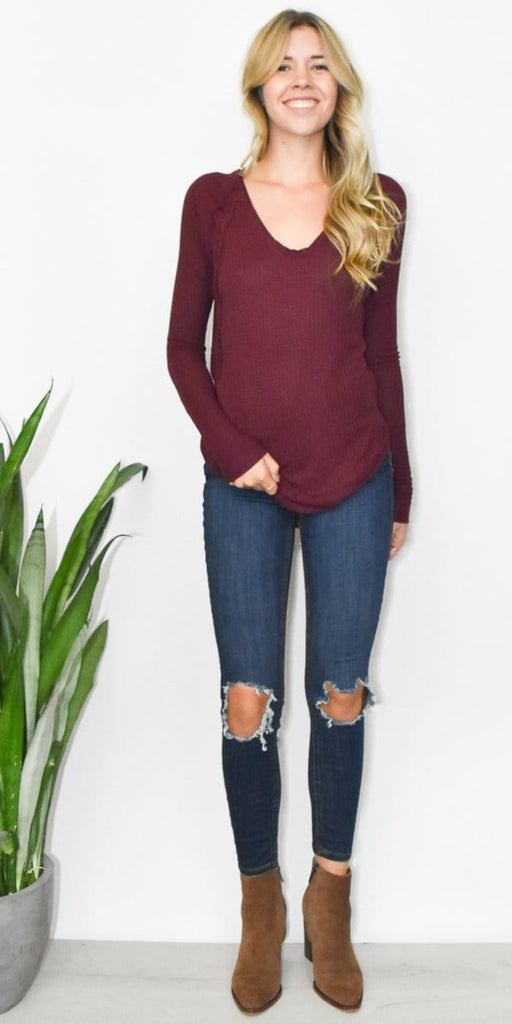 Free People Catalina Thermal Top in Plum