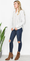 Gentle Fawn Serena Button-Up Shirt in White Sartorial Stripe