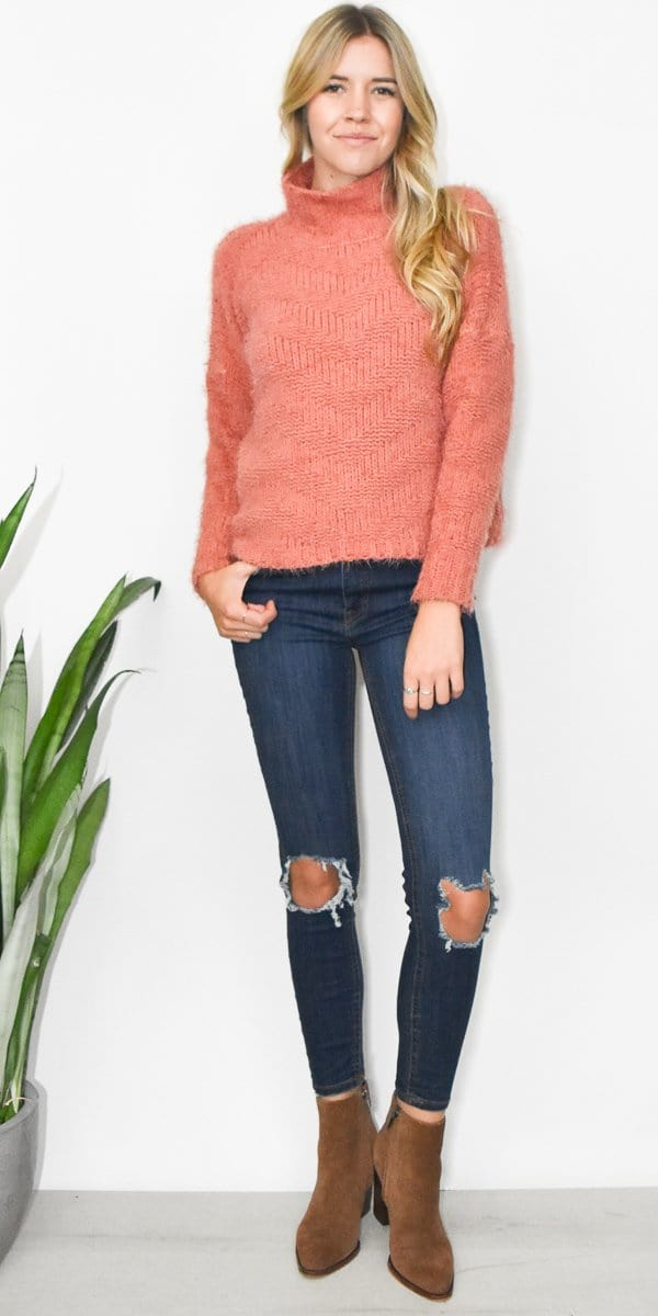 Solutions Fuzzy Sweater in Peachy