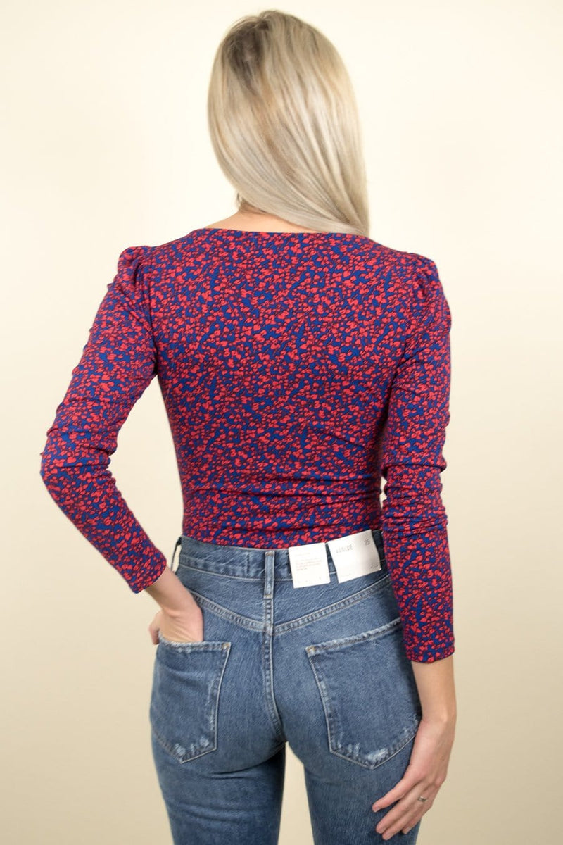 Trendy Long Sleeve Floral Bodysuit