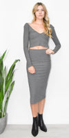 Stillwater The Rib Edit Skirt in Charcoal Grey