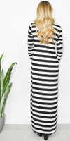 GOLDYN Isla Stripe Maxi Dress in Black & Oatmeal Stripe