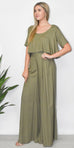 GOLDYN Florence Wide Leg Pant in OIive Green.