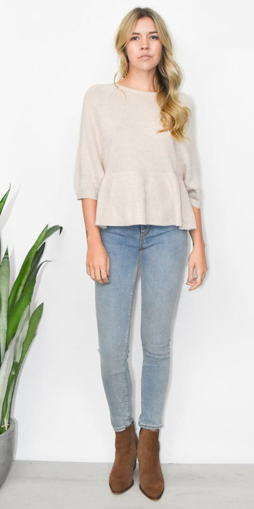 Endless Rose Peplum Sweater Top in Cafe Taupe