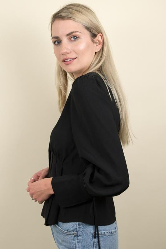 Moon River Puff Sleeves W/ Ribbon Blouse Black