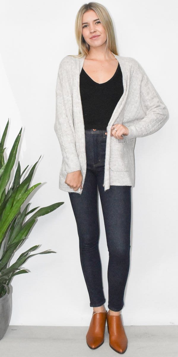 Grade & Gather Cable Knit Open Cardigan in Oat
