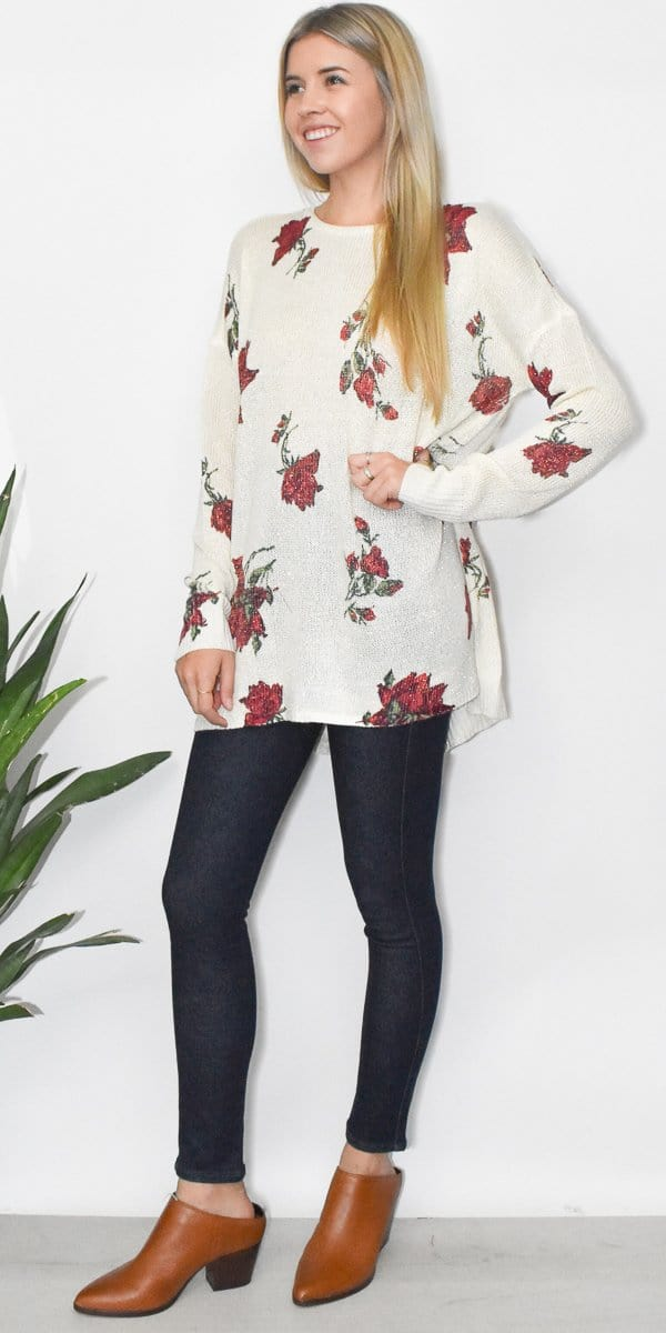 Show Me Your Mumu Bonfire Sweater in Winter Rose Shimmer Knit