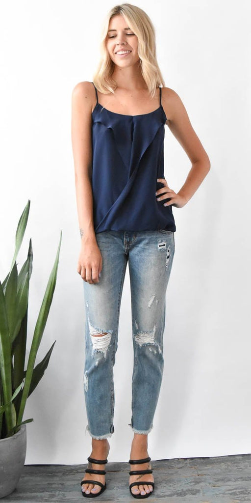 Lavender Brown Draped Front Tank Top in Ink Navy