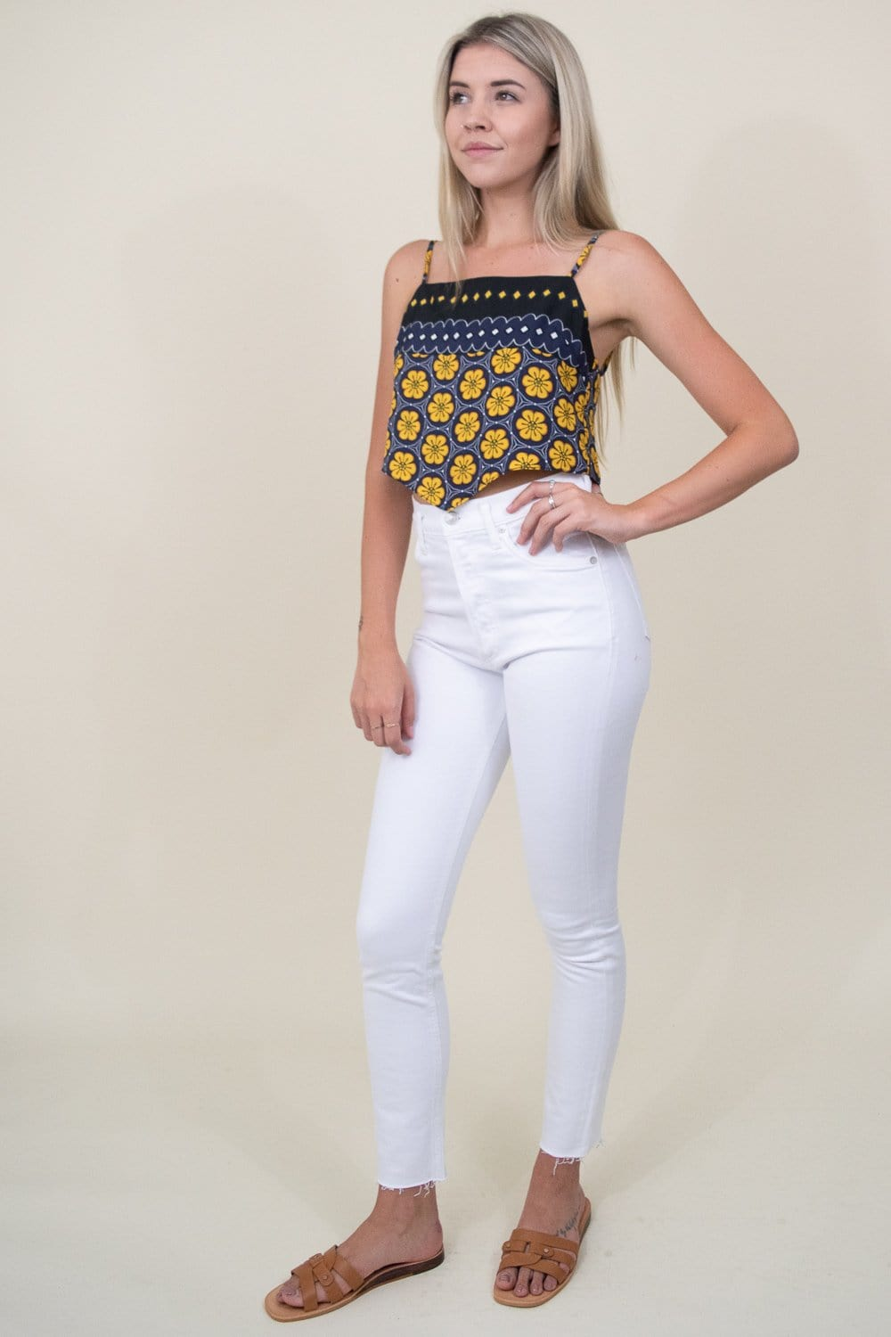 J.O.A. Border Print Scarf Top in Yellow Multi