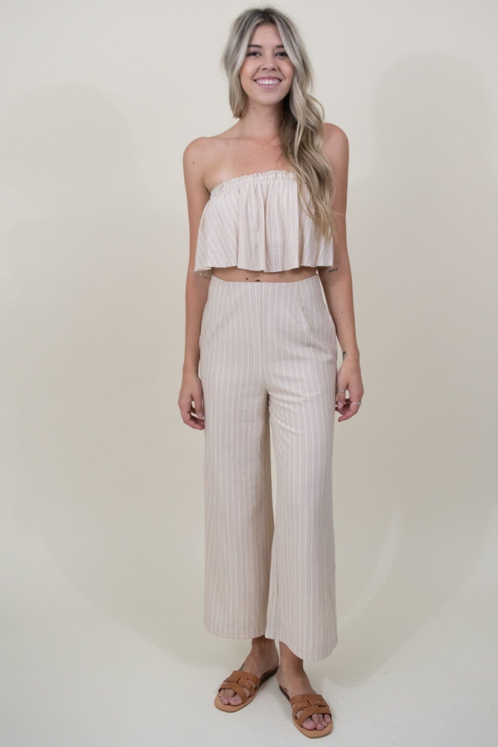 Sage The Label Wild One Pant in Sand Stripe