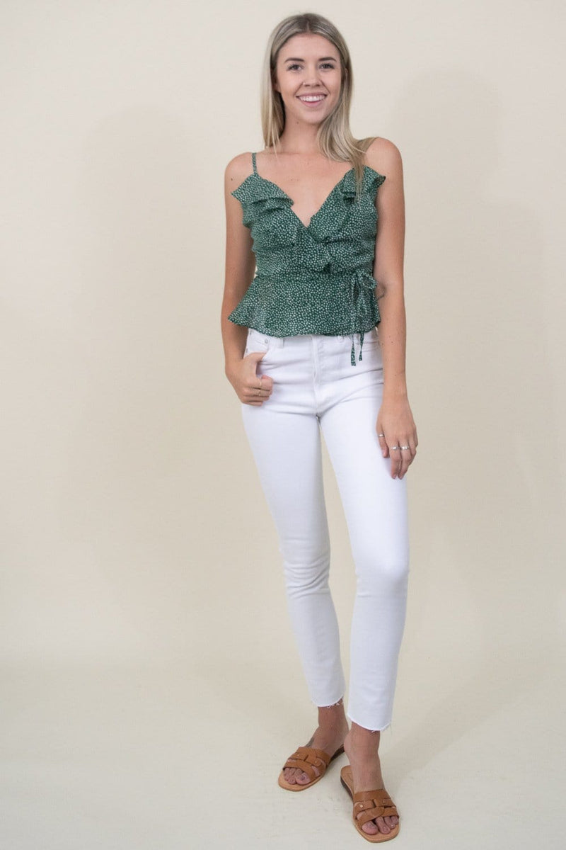 J.O.A. Woven Sleeveless Wrap Top in Green Dot | Wild Dove Boutique | San Diego,CA