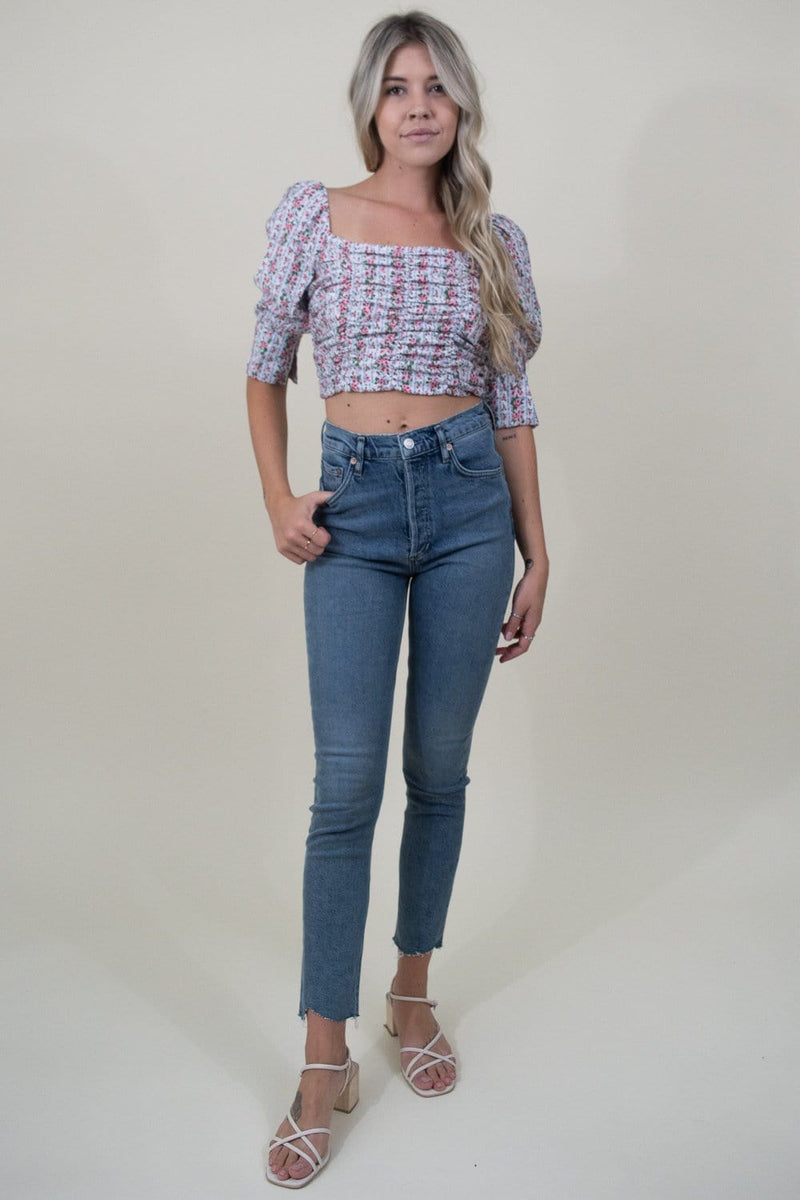 Le Reveur Trendy Floral Ruched Crop Top | Wild Dove Boutique | San Diego, CA
