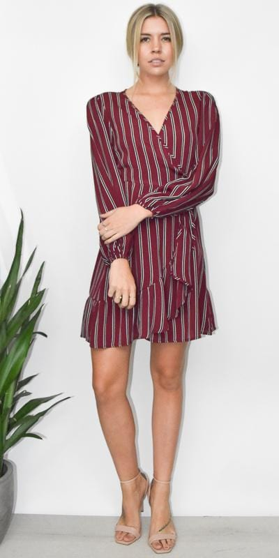 Band of Gypsies Aurora Dress in Burgandy and Black Stripe