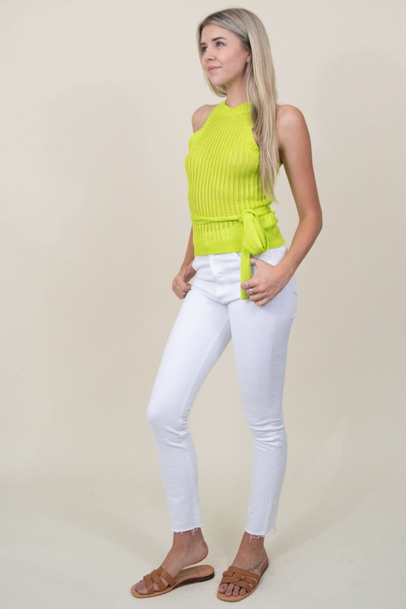J.O.A. Halter Cami Sweater Top in Lime Yellow | Wild Dove Boutique | San Diego,CA