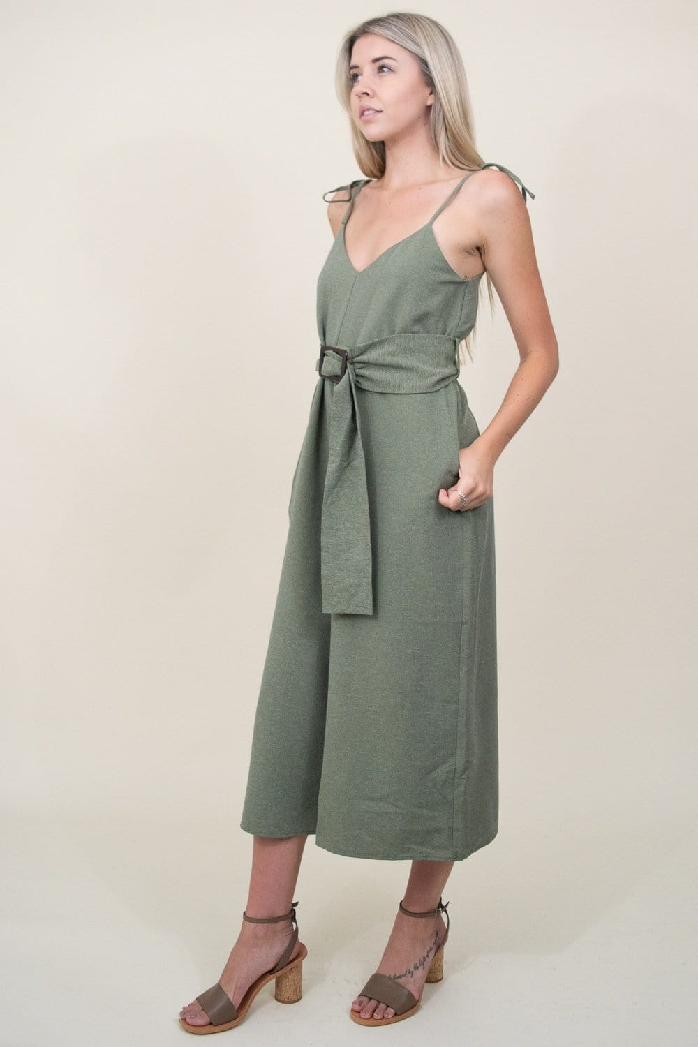 Moon River Spaghetti Strap Jumpsuit W/ Waist Belt in Hunter Green | Wild Dove Boutique | San Diego,CA