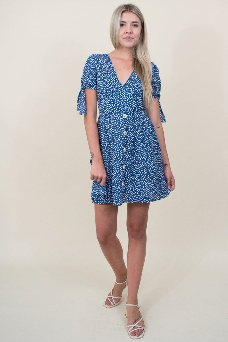 Moon River Sleeve Tie Open Back Dress in Blue Dot | Wild Dove Boutique | San Diego, CA
