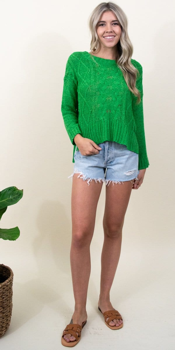 J.O.A. Cable Knit Sweater Green