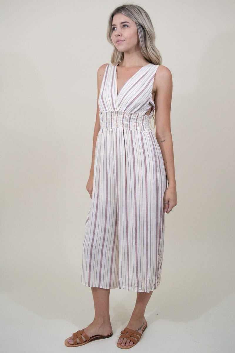 Trendy Stripe Jumpsuit in Tan Stripe | Wild Dove Boutique | San Diego, CA