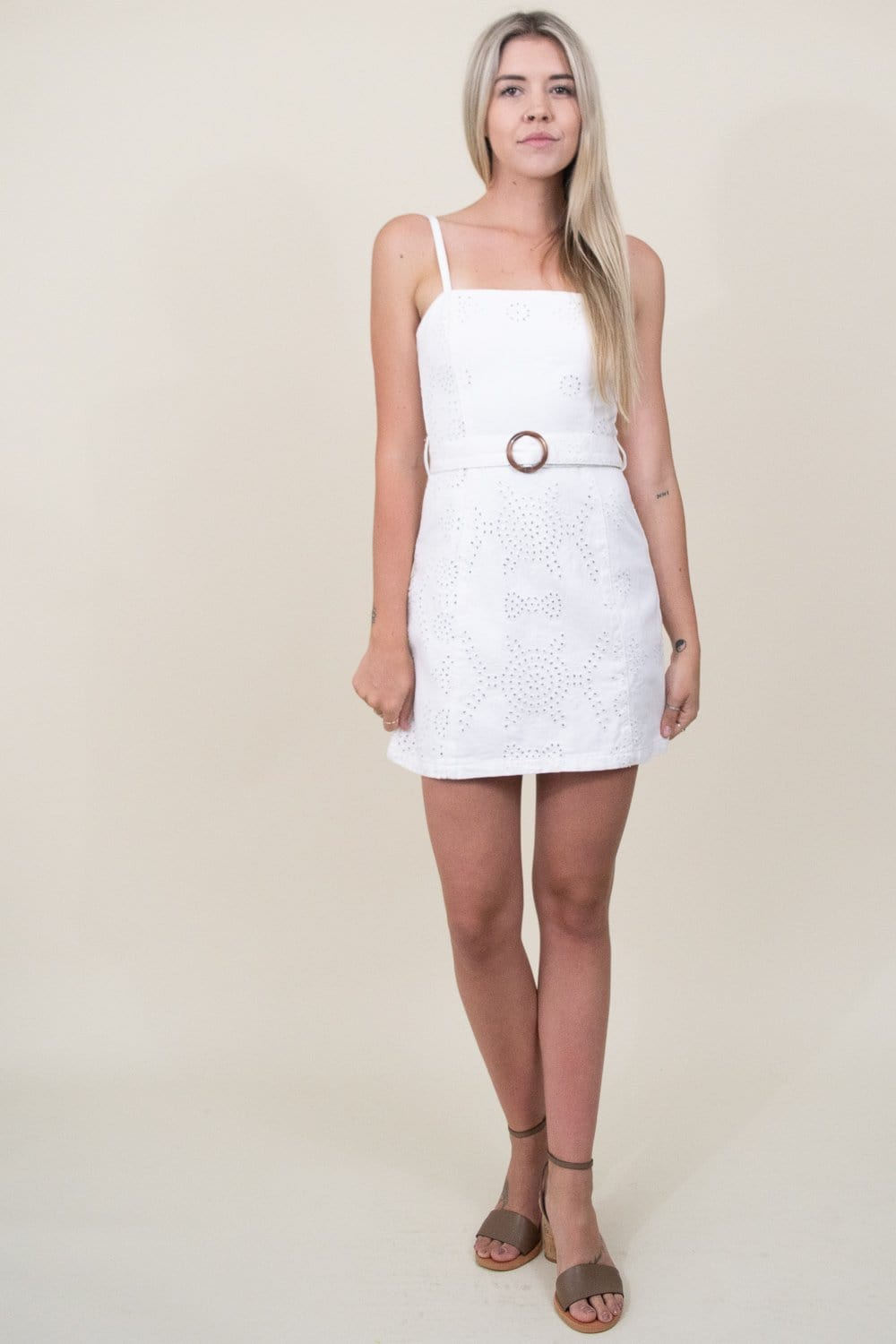 MINKPINK To the Coast Broidery Mini Dress in White | Wild Dove Boutique | San Diego, CA