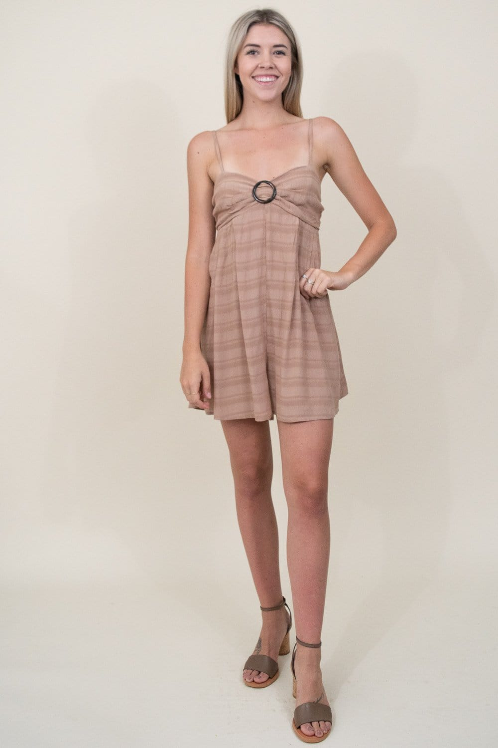 Show Me Your Mumu Sullivan Romper in Tan Ripple Gauze