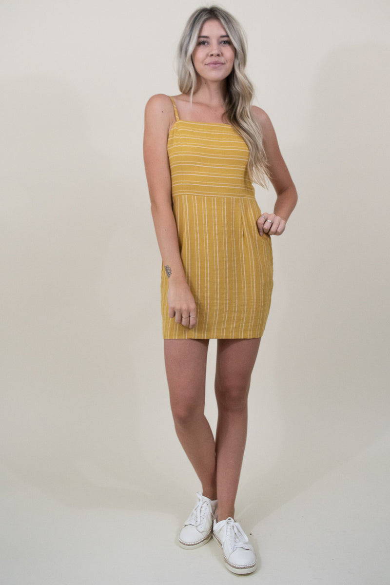 Le Reveur Hermosa Stripe Mini Dress in Marigold Yellow