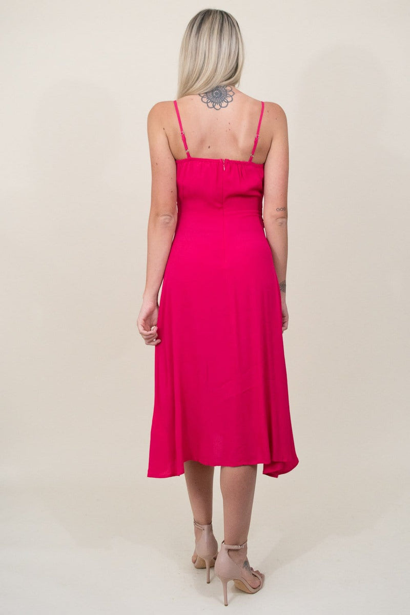J.O.A. Woven Spaghetti Strap Midi Dress in Punch Pink