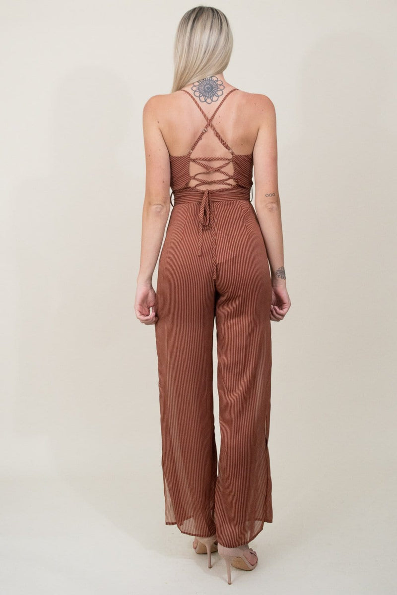 J.O.A. Cowl Neck Tie Waist Sheer Jumpsuit in Sienna Multi