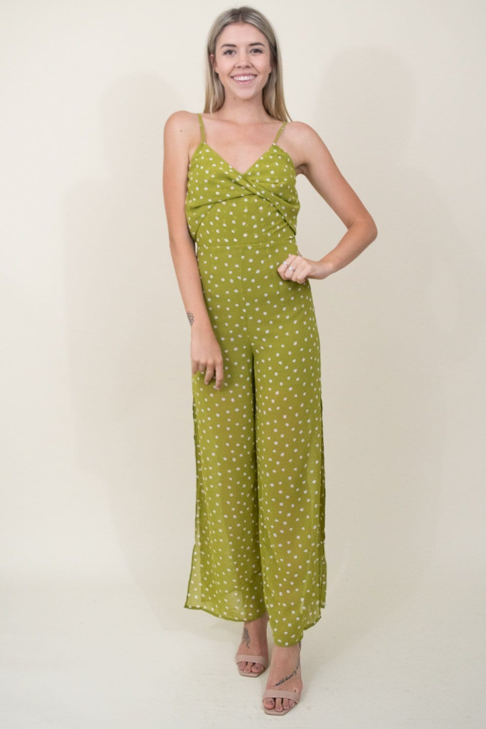 J.O.A. Twist Front Sleeveless Jumpsuit in Kiwi Multi
