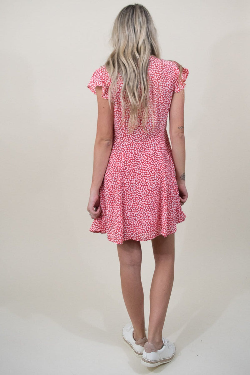 MINKPINK Tiny Bloom Mini Dress in Blood Orange