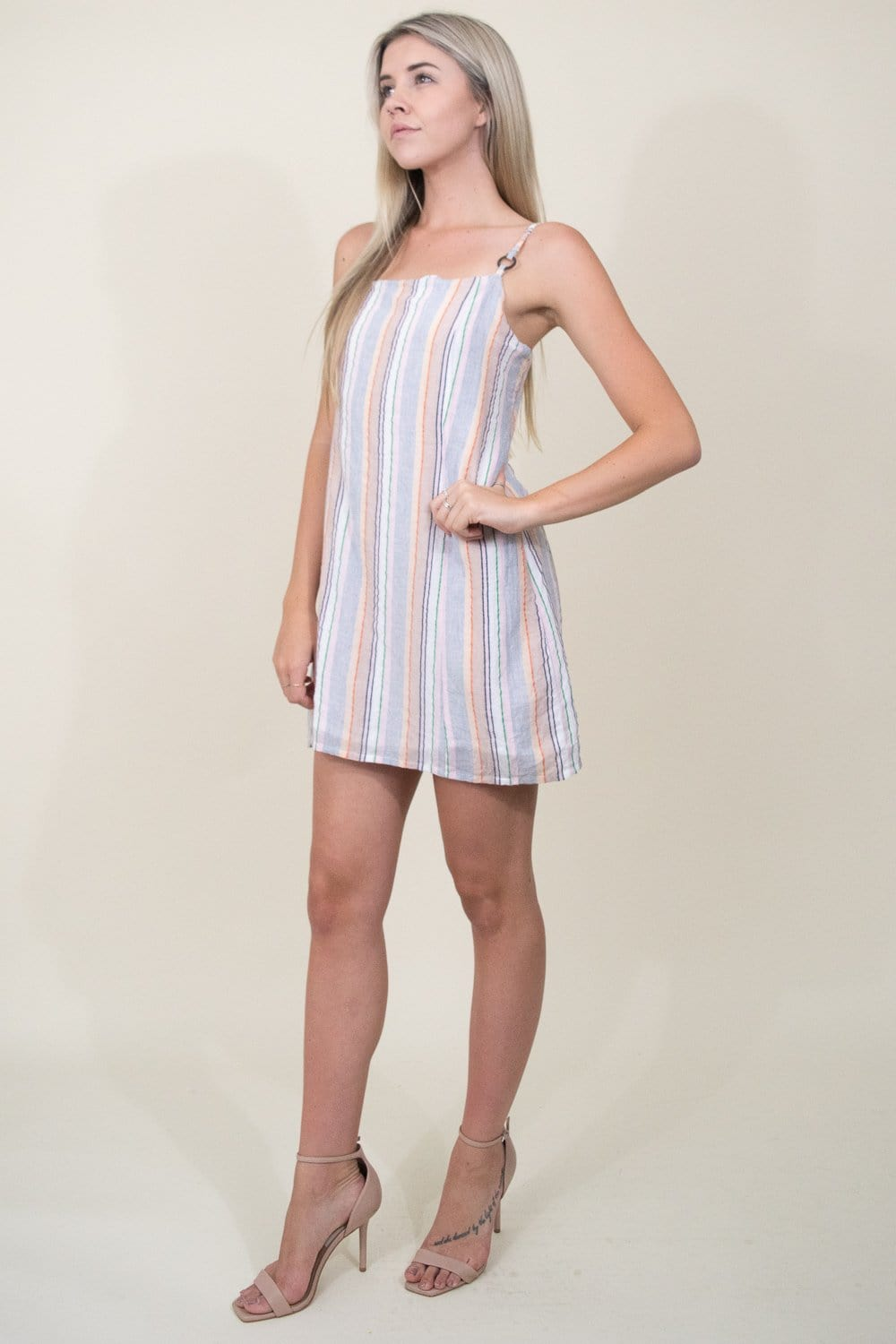 MINKPINK Mahi Step Hem Mini Dress in Multi Stripe | Wild Dove Boutique | San Diego, CA